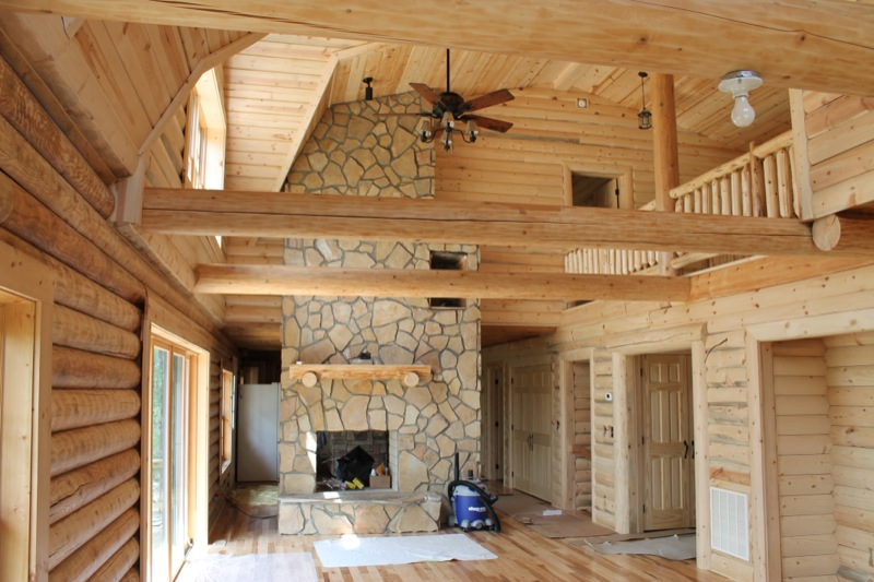Half Log Siding Interior Walls